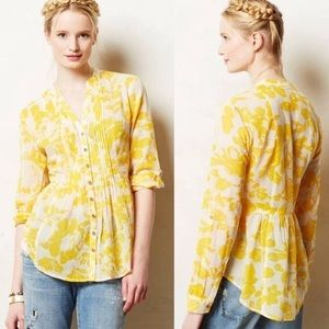 Maeve Pin-Tucked Button Down Yellow Floral Blouse